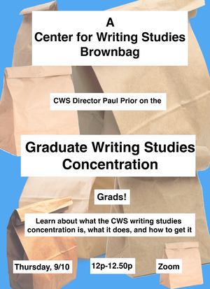 Flyer for a Center for Writing Studies flyer announcing a brownbag event. Contains information about the brownbag (explains that participants will explain what the concentration is and how to get it). Has the time and date (9/10 and 12-1250p). Background is light blue with lots of cut out brownbag images in varying sizes in background.